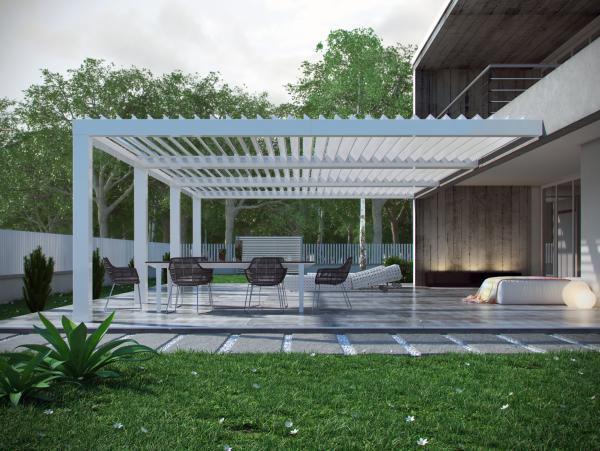 PERGOKLIMA R610. La stanza extra per la tua casa: una protezione da pioggia, vento, sole e gelo - dimensioni massime 450x800 cm.