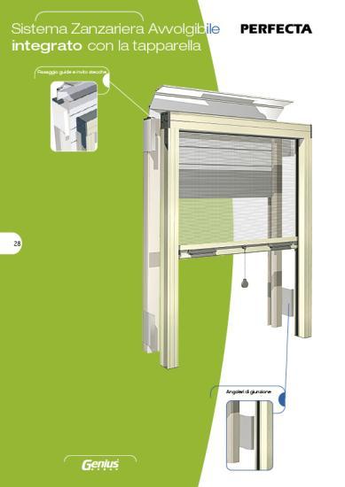 Zanzariera avvolgibile integrabile con la tapparella; adatta a serramenti da porre in opera