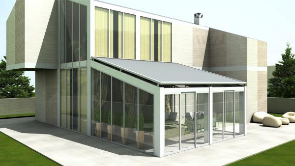 PERGOZIP R171. Ideale per ombreggiare strutture esistenti, come giardini d'inverno, pergolati, pompeiane - dimensioni massime  600x600 cm - strutttura disponible in 56 colori.
