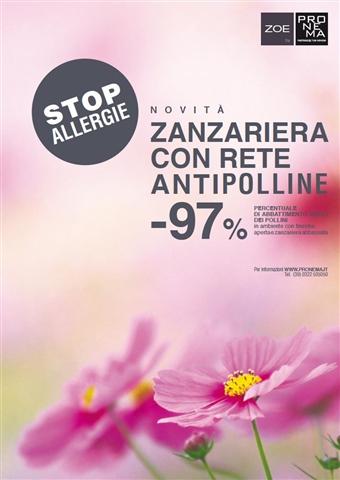 ZOE, la zanzariera Pronema con rete antipolline
