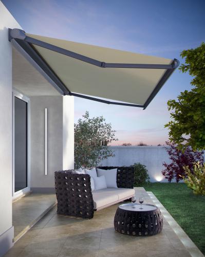 TENDA A BRACCI R93. Tenda a bracci ideale per terrazze, balconi e finestre, disponibile in una vasta gamma di modelli e tessuti.