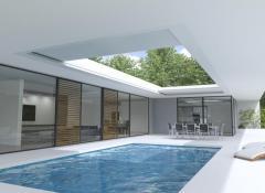Renson Aero Skye, la copertura a doghe scorrevoli ad incasso, in armonia con l'architettura